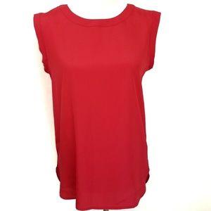 J. Crew XS Drapey Sleeveless Blouse Top Red #B7682